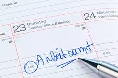 Eintritt zum Kalender: Arbeitsamt Stockfotos