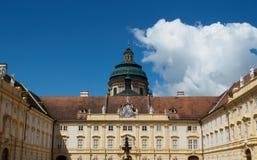 Eintritts-Gericht in Melk-Abtei in Wachau, Österreich Stockbilder