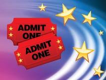 Eintrittskarten auf abstraktem flüssigem Wellen-Hintergrund Lizenzfreies Stockbild