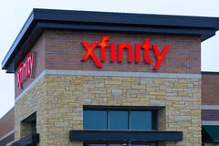 Einzelhandelsgeschäft-Äußeres und Zeichen Xfinity Stockbild