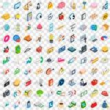 100 Einzelhandelsverkaufikonen stellten, isometrische Art 3d ein Stockbilder