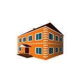 Einzelhaus des orange Zweigeschosses in der Perspektive Stockfotografie