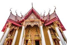 Einzeln aufgeführt von thailändischem Art Tempel mit Isolat auf weißem Hintergrund, Lizenzfreies Stockbild