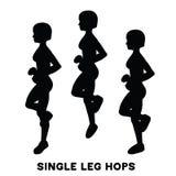 Einzelne Beinhopfen sprünge Sport exersice Schattenbilder der Frau Übung tuend Training, bildend aus stock abbildung