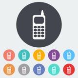 Einzelne flache Ikone des Telefons Lizenzfreies Stockbild