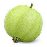 Einzelne grüne Guave lokalisiert auf Weiß Stockfotografie