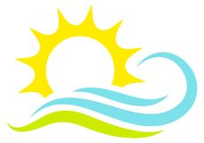 Einzelne grafische Ikone Sun-Wellen und -wiese lizenzfreie abbildung