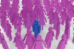 Einzelne männliche Abbildung umgeben durch weibliche Abbildungen Lizenzfreie Stockfotos