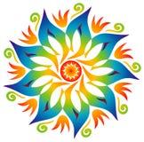 Einzelne Mandala - Regenbogen-Farben Stockfotos