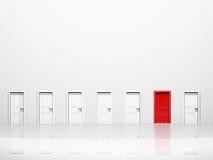 Einzelne rote Tür Stockfotografie
