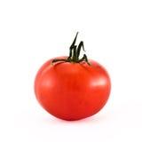 Einzelne rote Tomate lokalisiert über Weiß stockfotos