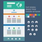 Einzelne Seitenwebsiteschablone, grundlegende Ikonen herein Stockfoto