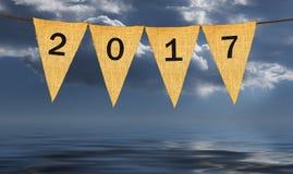 Einzelne Stoffwimpel oder -flaggen mit 2017 neuem Jahr Stockfotografie