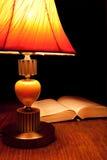 Einzelne Tischlampe und geöffnetes Buch Stockfoto