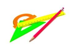 Einzelner Bleistift und Machthabernahaufnahme stockbild