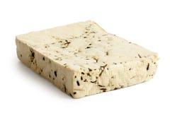 Einzelner Block des natürlichen Tofus mit Kräutern Lizenzfreies Stockfoto