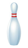 Einzelner Bowlingspielstift mit roten Streifen Stockfotos