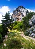 Einzelner Felsen am Berg Stockfoto