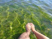 Einzelner Fuß eines Mannes und einzelner Fuß einer Frau im haarscharfen grünen seichten Meerwasser mit Raum für das Redigieren stockbild