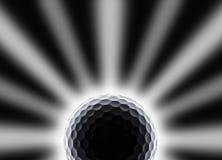 Einzelner Golfball mit Stern und Eklipse wie Effekt auf Schwarzes stockbilder