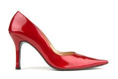 Einzelner roter Schuh Stockfotos