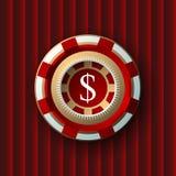 Einzelner roter und weißer Kasinochip an Stockfotografie