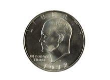 Einzelner silberner Dollar Eisnehower auf Weiß Lizenzfreies Stockbild