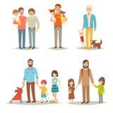 Einzelner Vater mit Kindern Junge Gruppe der glücklichen Familie: kleine Schwestern, Brüder und Vater vektor abbildung