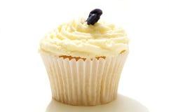 Einzelner verzierter Schalenkuchen auf Weiß Lizenzfreies Stockfoto