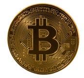 Einzelnes bitcoin Makrobild lokalisiert gegen Weiß Stockfotografie