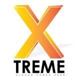 Einzelnes x-Buchstabe-Logo mit Blick 3D Stockfotografie
