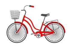 Einzelnes Fahrrad mit einem vorderen Weidenkorb auf einem weißen Hintergrund Flache Art des Vektors stock abbildung