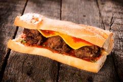 Einzelnes Fleischsandwich Lizenzfreies Stockbild