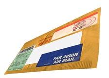 Einzelnes gelbes Postpaket (Umschlag, Formular cn22) Lizenzfreie Stockfotos