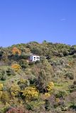 Einzelnes Haus auf der Seite eines Hügels Stockbild