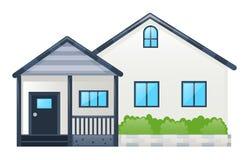 Einzelnes Haus mit grauem Dach Stockbild