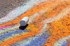 Einzelstück der Kreide auf Bürgersteig-Kunst Lizenzfreie Stockfotografie