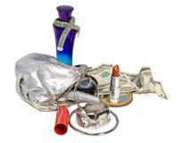 Einzelteile enthalten in der Handtasche der Frauen Lizenzfreies Stockbild
