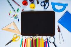 Einzelteile für Schule und Tablette Lizenzfreies Stockbild