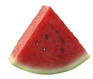 Einzelwassermelonenstück lokalisiert auf Weiß Stockbilder