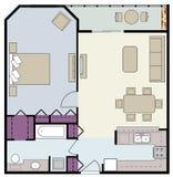 Einzelzimmereigentumswohnung mit Möbeln Stockbilder