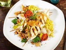 Einzig - Plattfische mit Curry-Reis lizenzfreie stockfotos