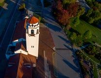 Einzigartige Ansicht der Zeit des Boise-Zugdepots im Frühjahr Lizenzfreies Stockfoto