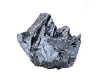 Einzigartige helle und glänzende metallische graue Hämatit-Bildung von Utah, lokalisiert auf Weiß stockbilder
