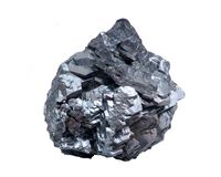 Einzigartige helle und glänzende metallische graue Hämatit-Bildung von Utah, lokalisiert auf Weiß lizenzfreie stockbilder