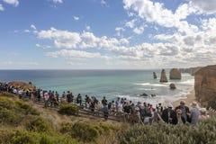 Einzigartige Landschaft der Küste des südlichen Ozeans entlang der großen Ozean-Straße in Australien stockbild