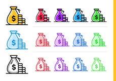 Einzigartige lineare Ikonen GELD-TASCHE der Finanzierung, habend ein Bankkonto Modernes outlin Lizenzfreie Stockfotografie