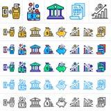 Einzigartige lineare Ikonen mit der unterschiedlichen Farbe der Finanzierung, habend ein Bankkonto Lizenzfreies Stockfoto