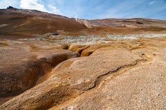 Einzigartige Mars- Landschaft an geothermischem Bereich Hverir in Nord-Island Lizenzfreie Stockfotografie