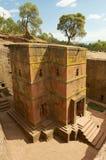 Einzigartige monolithische stein-gehauene Kirche von St. George Bete Giyorgis, Lalibela, Äthiopien lizenzfreies stockfoto